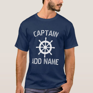 Personalized boat captain name ship wheel t shirt