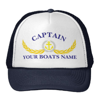 Personalized boat name anchor motif captains cap