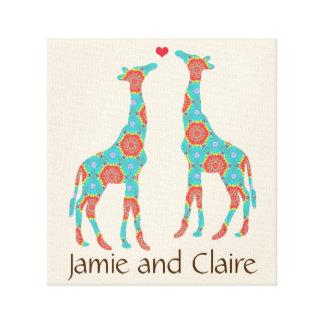 Personalized Bohemian Giraffe Lovers Canvas Print
