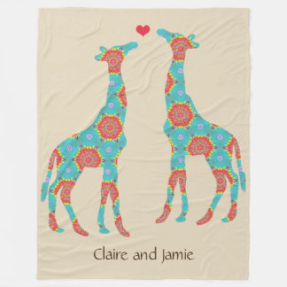 Personalized Bohemian Giraffe Lovers Fleece Blanket
