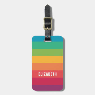 Personalized Bold Colorful Rainbow | Eye Catching Luggage Tag