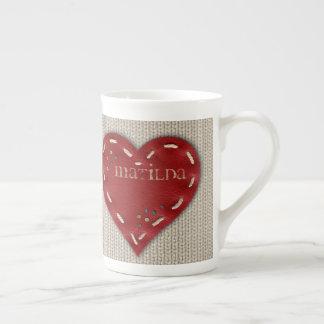 Personalized Bone China Mug w/ Leather Heart
