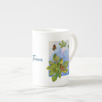 Personalized Bone China Mug with Butterflies