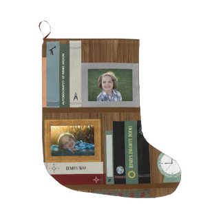 Personalized Book Lover's Bookshelf Large Christmas Stocking