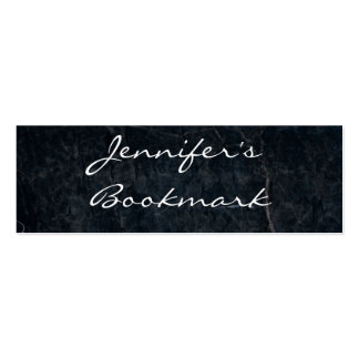 Personalized Bookmark on Black Marbled Stone Business Card Template