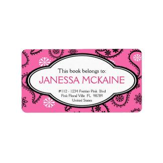 Personalized BookPlate Pink Paisley Pattern Address Label