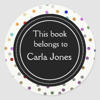 Personalized Bookplates - Colorful Dots Round Sticker