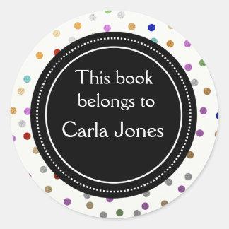 Personalized Bookplates - Colorful Dots Round Sticker