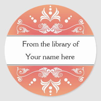 Personalized Bookplates - Colorful Flourishes Round Sticker