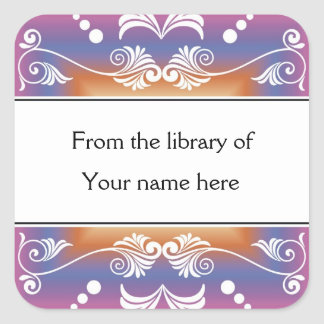 Personalized Bookplates - Colorful Flourishes Square Sticker