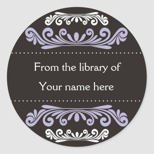 Personalized Bookplates - Colorful Flourishes Round Stickers