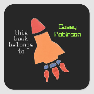 Personalized bookplates for kids - neon rocket square sticker