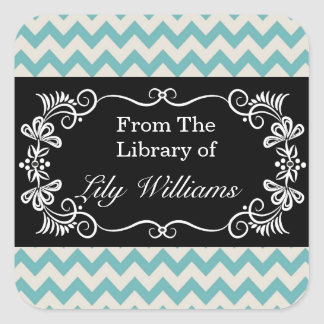 Personalized Bookplates - Mint Chevron Pattern Square Sticker