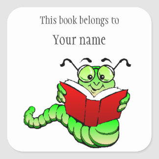 Personalized Bookworm Bookplate Sticker