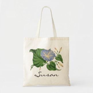 Personalized Botanical Morning Glory Tote Bag