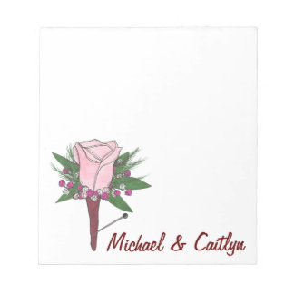 Personalized Boutonniere Pink Rose Wedding Notepad