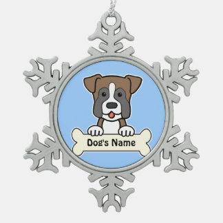 Personalized Boxer Pewter Snowflake Decoration