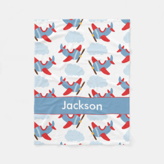 Personalized Boy Airplanes Fleece Blanket
