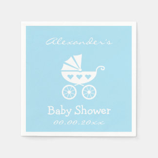 Personalized boy baby shower napkins with carriage paper serviettes