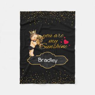 Personalized Boy Prince | Gold Sunshine Nursery Fleece Blanket