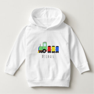 Personalized Boy's Colorful Locomotive Train Name Hoodie