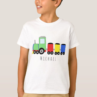 Personalized Boy's Colorful Locomotive Train Name T-Shirt