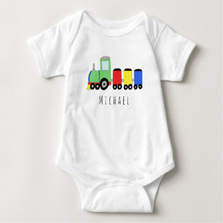 Personalized Boy's Locomotive Train with Name Baby Bodysuit