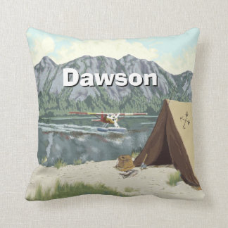 Personalized Boy's Room Woodland  Camping Mountain Cushion