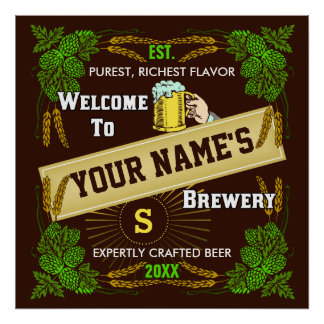 Personalized Brewery / Beer Welcome Sign Poster