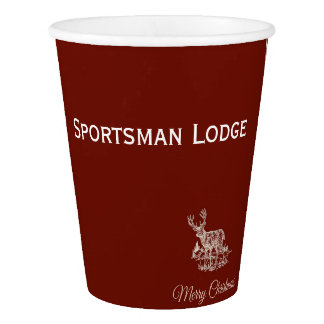 Personalized Brick Red  Christmas Buck Design Paper Cup