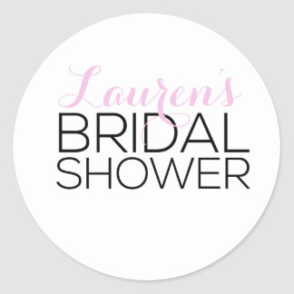 Personalized Bridal Shower Favor Classic Round Sticker