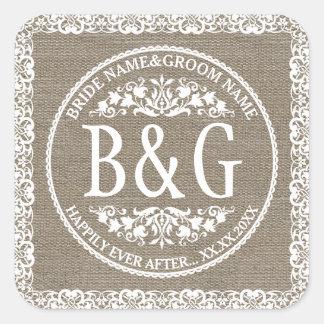 Personalized Bride&Groom Burlap&Lace Square Sticker