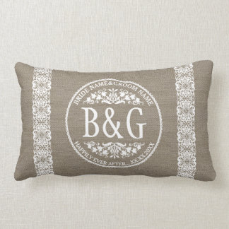 Personalized Bride&Groom Burlap&Lace Throw Cushion