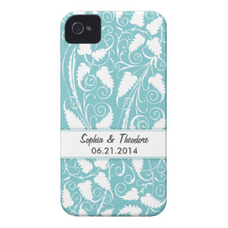 Personalized Bride & Groom Teal Vine iPhone 4 Case