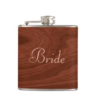 Personalized Bride   Rustic Wedding Wood Look Hip Flask