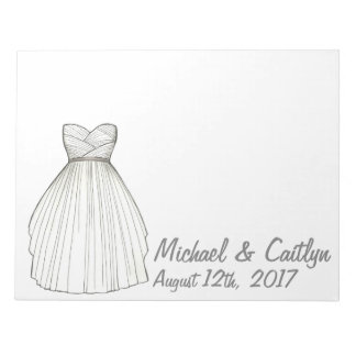 Personalized Bride Wedding Dress Gown Notepad