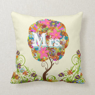 Personalized Brides Coral and Aqua Flower Tree Throw Cushions