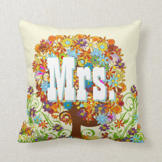 Personalized Brides Coral and Aqua Flower Tree Throw Pillow