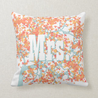 Personalized Brides Coral and Aqua Romantic Tree Throw Pillow