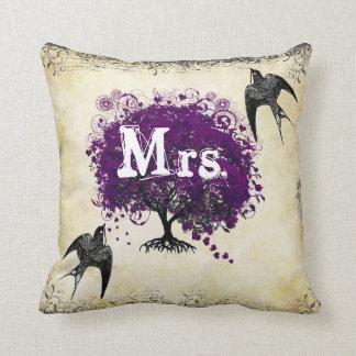 Personalized Brides Purple Heart Leaf Tree Mrs. Cushions