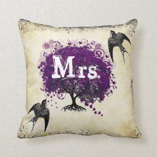 Personalized Brides Purple Heart Leaf Tree Mrs. Throw Pillow