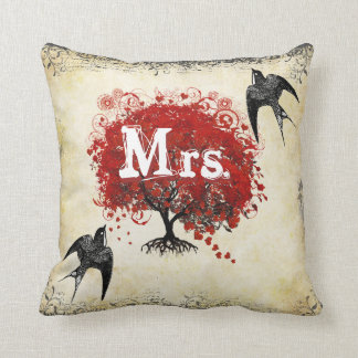 Personalized Brides Red Heart Leaf Tree Mrs. Throw Pillow