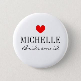 Personalized bridesmaid buttons for wedding party