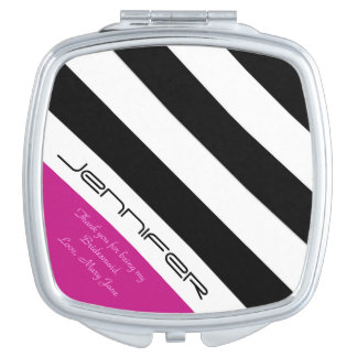 Personalized Bridesmaid Compact Mirror Hot Pink