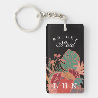 Personalized Bridesmaid Gift Keychain Floral