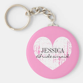 Personalized bridesmaid keychain | Pink and heart