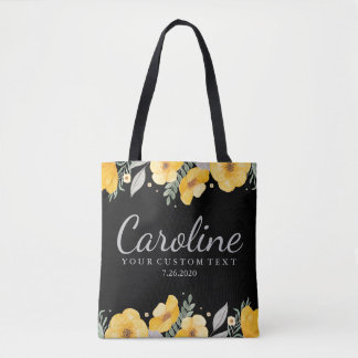Personalized Bridesmaid Romantic Yellow Flowers Tote Bag