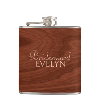 Personalized Bridesmaid   Rustic Wood Wedding Hip Flask