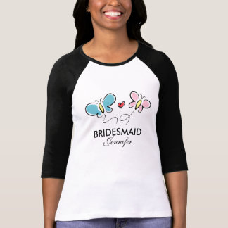 Personalized bridesmaid t shirts with butterflies