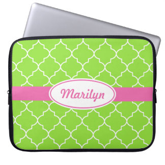 Personalized Bright Lime Laptop Sleeve